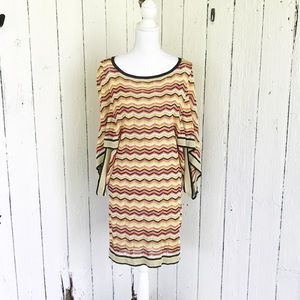Trina Turk Dress Knit Chevron Batwing sleeves